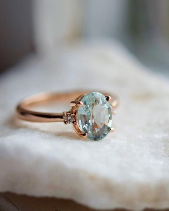 6166747c1 Mint sapphire ring. Rose gold engagement ring. Mint Green Sapphire ring 3 stone  ring oval cut Rose gold diamond ring 1.84ct sapphire ring