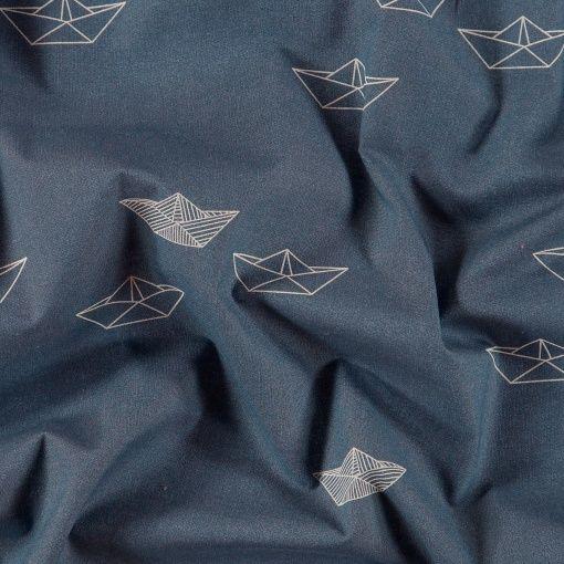 Bomull mørk blå m papirbåter