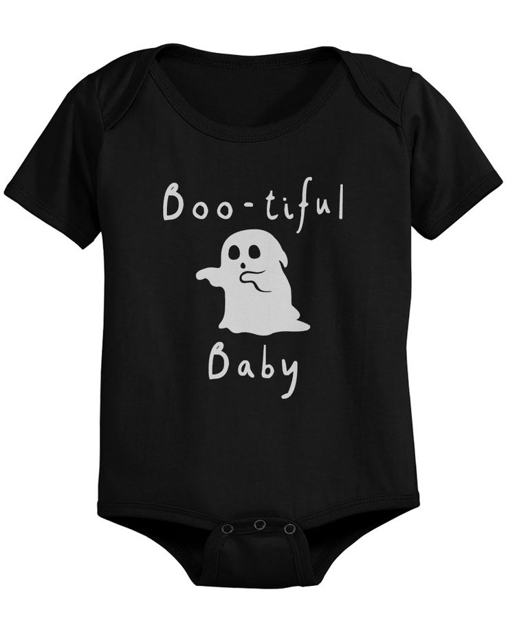 Boo-tiful Baby with Cute little Ghost Bodysuits Halloween Black Snap On Onesies