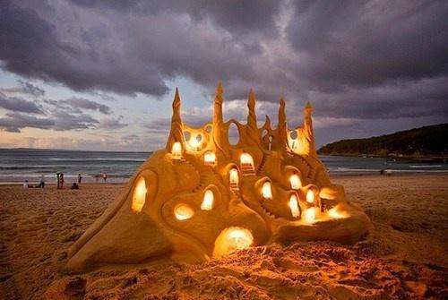 Illuminated Sand Castle, Noosa, Australia