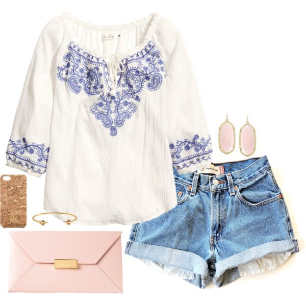 peasant top. by the-southern-prep on Polyvore featuring moda, H&M, STELLA McCARTNEY, Kendra Scott, J.Crew and Tory Burch