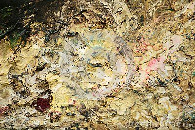 Abstract collage on canvas, deep and mysterious hues, background.