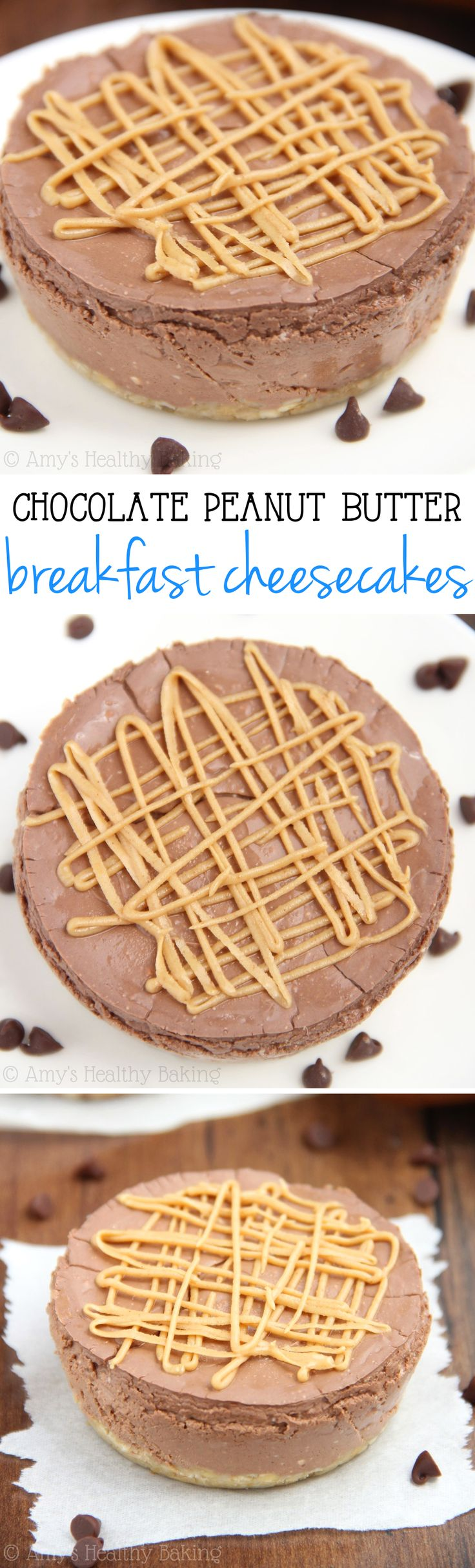 Skinny Chocolate & Peanut Butter Breakfast Cheesecakes -- an easy recipe packed with 15g of protein & NO refined sugar!