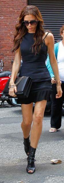 Victoria Beckham: Shoes - Manolo Blahnik for Victoria Beckham Dress and purse - Victoria Beckham similar style dress by the same designer Victoria Beckham Open back dress
