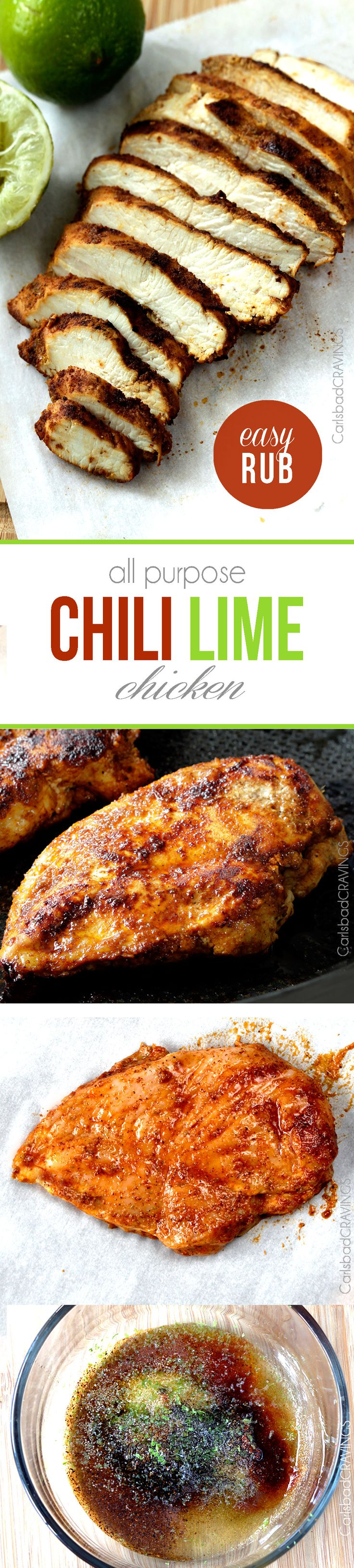 All Purpose Chili Lime Chicken so moist, tender and exploding with flavor from an EASY rub - perfect for salad, burritos, pasta, tacos etc. I love having this on hand! #chililimechicken #mexicanchicken #limechicken via @carlsbadcraving