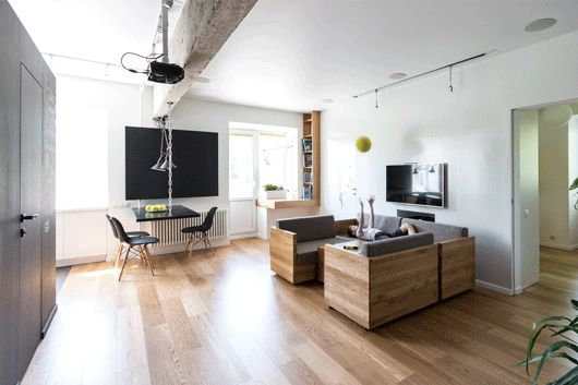Fascinating way to deal with minimal space in tiny apartments.  Flexible Family Apartment Full Of Original Design Solutions