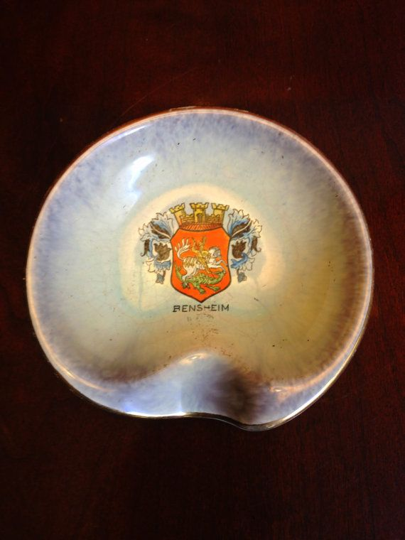 SALE Bensheim Germany Crest Handmade Ashtray by TheLeafery on Etsy, $10.00