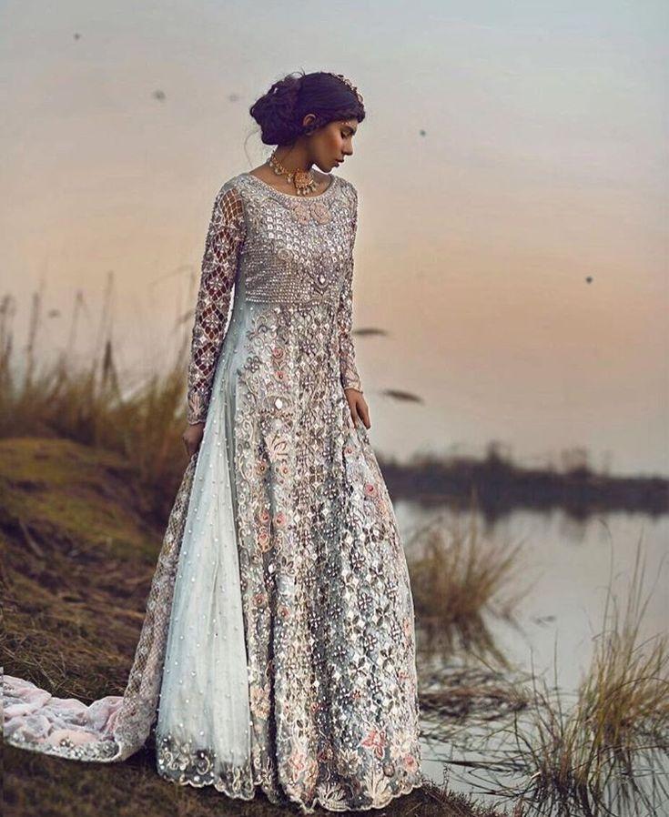 Pakistani Bridal Dress | Silver, & Blue | Simple & Elegant | Beautiful Embroidery Work