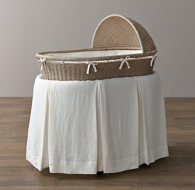 Washed Organic Linen Bassinet Bedding Bed Bassinet Wicker