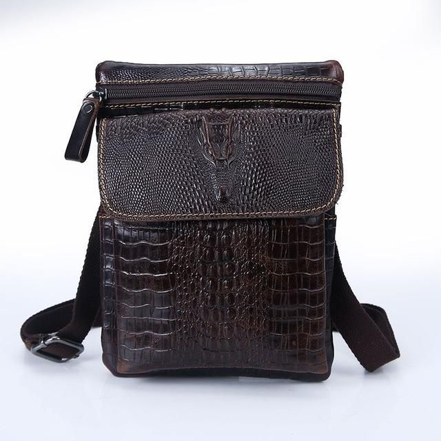 Retro Vintage Genuine Leather Men Mutli-Function Messenger Bag Waist Bag