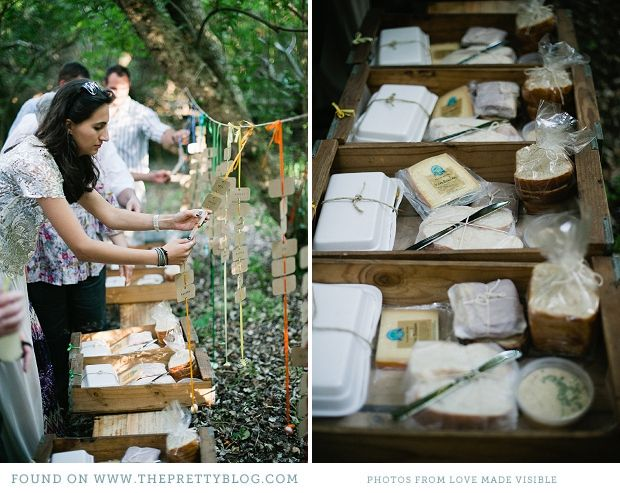 A gorgeous idea...these guys provided a picnic in the forest for their guests as a prelude to their dinner