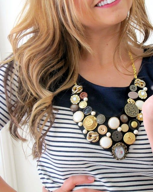 How To Make a Button Bib Necklace {step by step Tutorial} - accessories, Crafts…