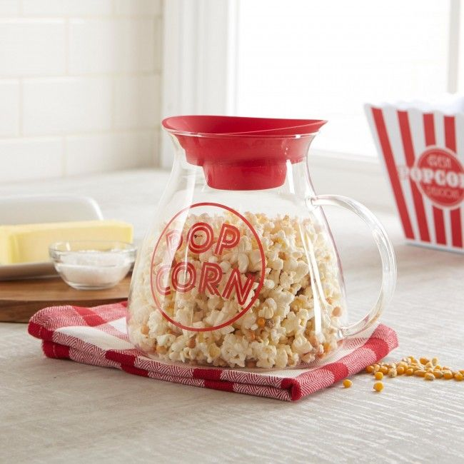 Make fast, healthy and delicious microwave popcorn without buying expensive bag or microwave popcorn! The Quickpop Glass Popcorn Maker pops in less than two minutes and adds the perfect amount of melted butter as your kernels pop! The heat resistant borosilicate glass popping chamber requires no oil - just pour in your kernels, place a pat of unmelted butter on the heat-safe silicone lid, put the Quikpop in the microwave for three minutes voila! Beautiful buttered, perfectly popped popcorn!