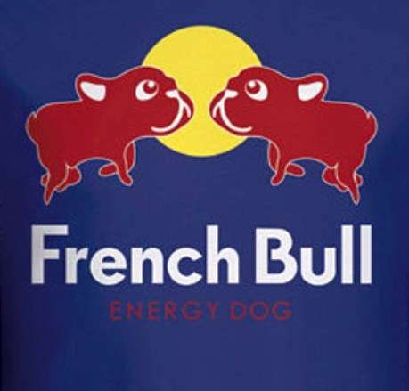 'French Bull', Energy Dog, French Bulldog and Red Bull Parody, illustration.