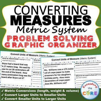 Get your students successfully understanding and CONVERTING METRIC UNITS OF MEASURE in word problems with these PROBLEM SOLVING GRAPHIC ORGANIZERS. Topics: ✔ Metric Conversions (length, weight and volume) ✔ Convert Larger Units to Smaller Units ✔ Convert Smaller Units to Larger Units  Perfect for math homework, assessments, math stations and exit tickets.  5th grade math common core 5.MD.1