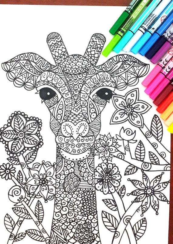 Giraffe In The Forest Coloring Page Complex Illustration With Many Details To Color Great