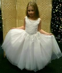 Anna White Embroidered Bodice Tulle Communion Dress