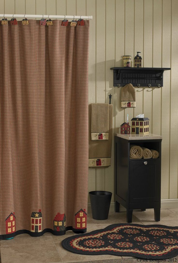 Country bathroom shower curtains - Primitive Shower Curtain Homeplace Bath Decor By Park Designs