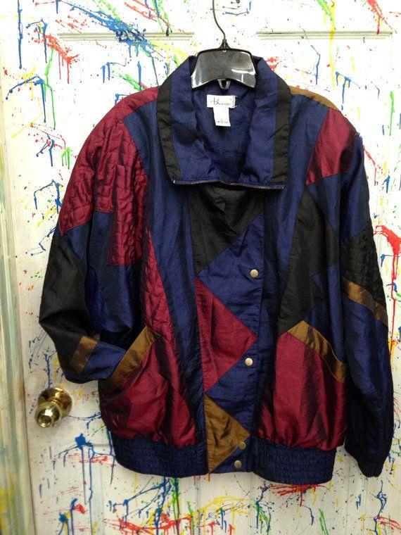 Vintage 80's windbreaker jogging swish zip up jacket for both men and women size XL blue burgundy gold black block motif 80's  RagsAGoGo, $28.00