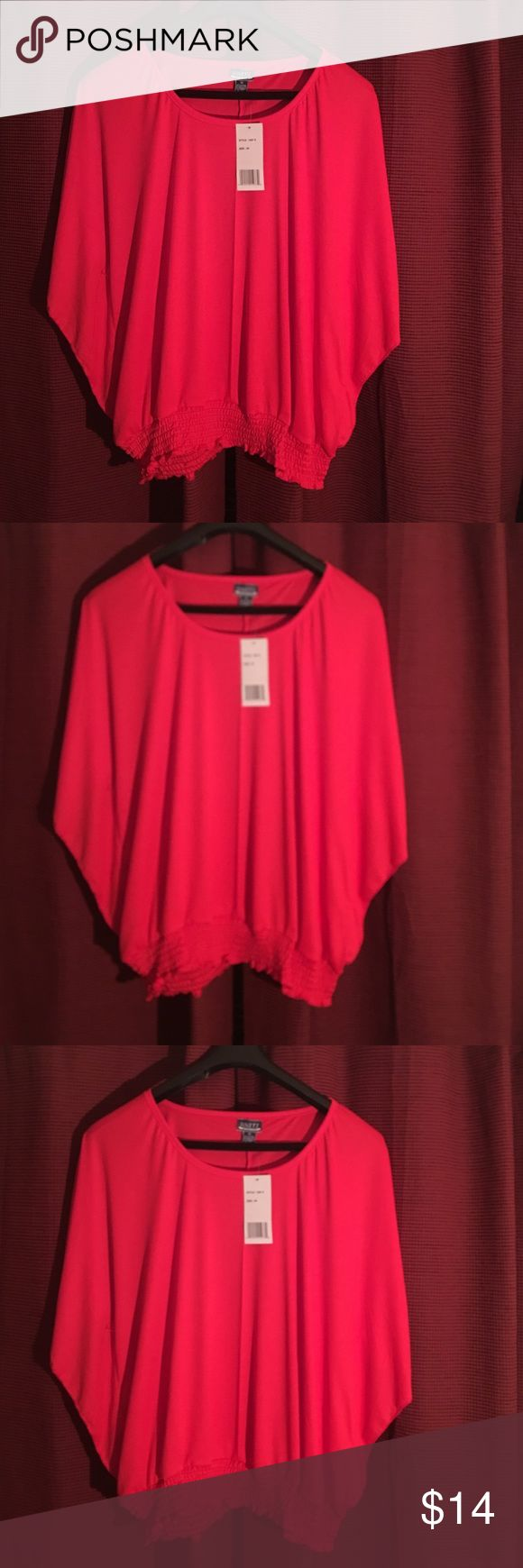 uniti soild red smock top woman's  This lady in red smock top is stunning on very light comfortable and nice red color great with shirts or summer legging 60 cotton 37 poly 37 spandex   3x woman Unti Tops