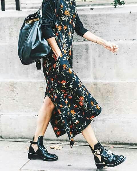 Floral dress and Balenciaga boots