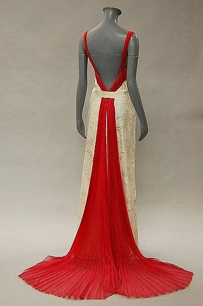 Anna de Wolkoff ivory damask evening gown, late 1930's