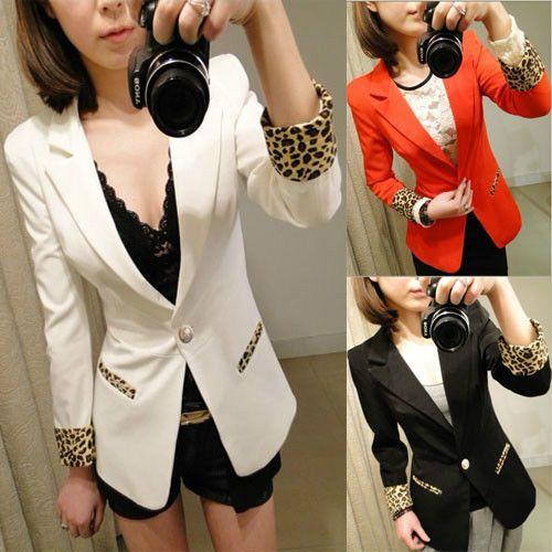 3 Color New Womens One Button Blazer Suit Leopard Lapel Jacket Coat Tops Fashion