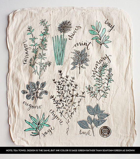Sage Green & Blue Herb Illustration Tea Towel