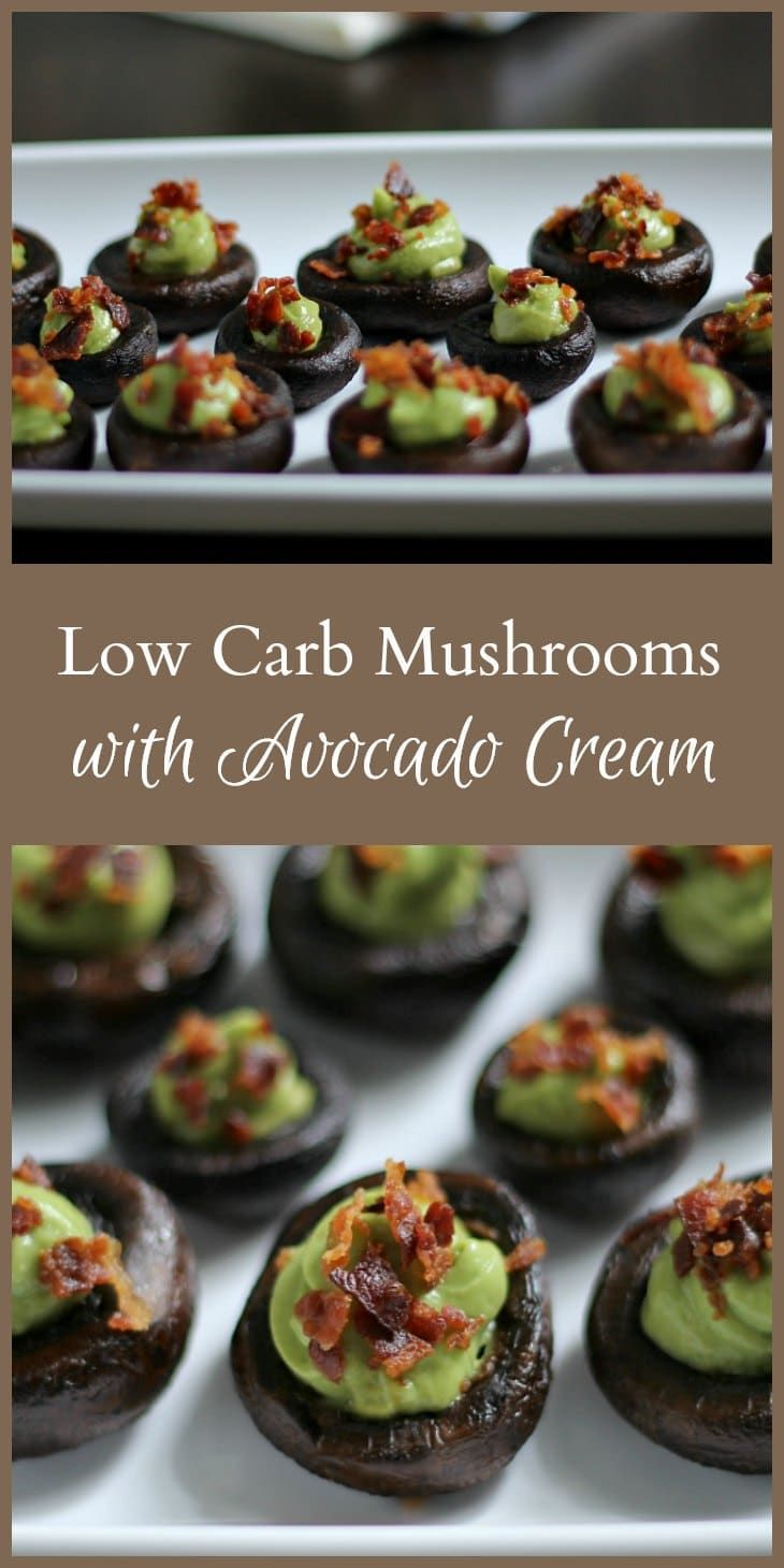 This recipe for low carb mushrooms stuffed with avocado & bacon packs a lot of flavor in one bite. Great party food as an appetizer or side dish.