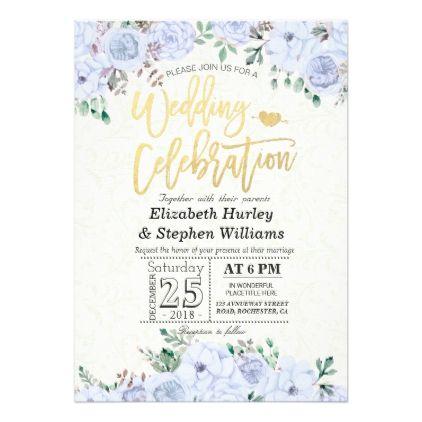Wedding Celebration Watercolor Floral Gold Script Card - wedding invitations diy cyo special idea personalize card