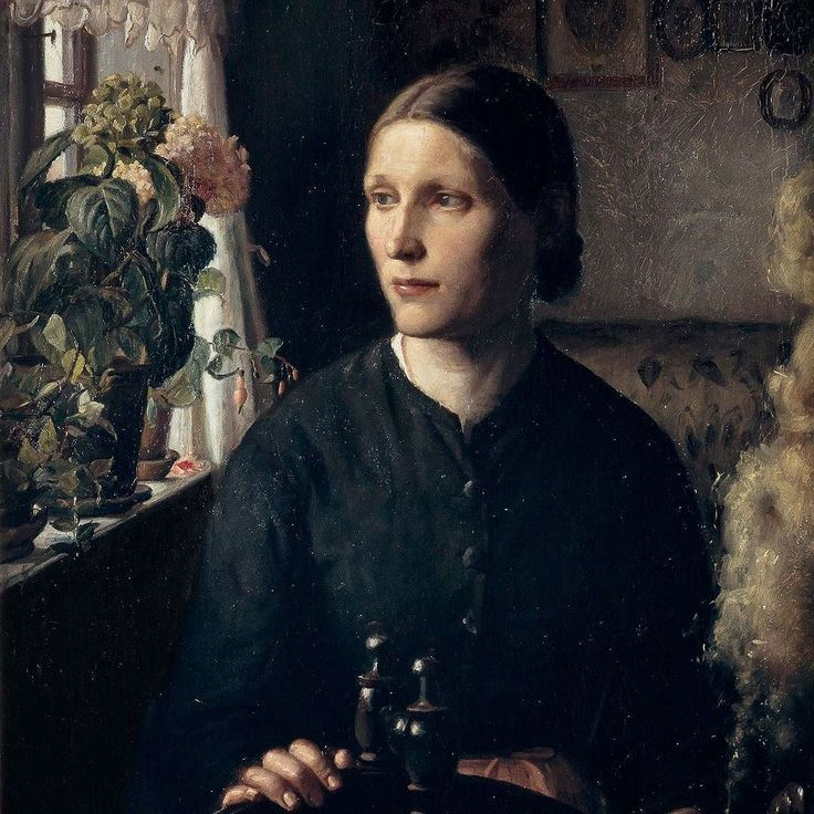Anna Ancher 'Young fisherman's wife at her spinning wheel looking out of a window'. 1880-ish #annaancher