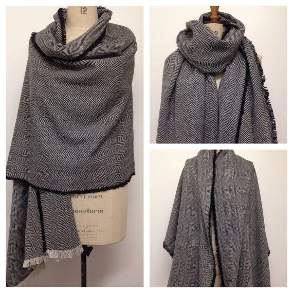 Oversized Scarf - Blanket Scarf - Unisex Black Herringbone Wool - Black Tweed Stole Large Winter Poncho Scarf - Men's Scarf - Made in UK