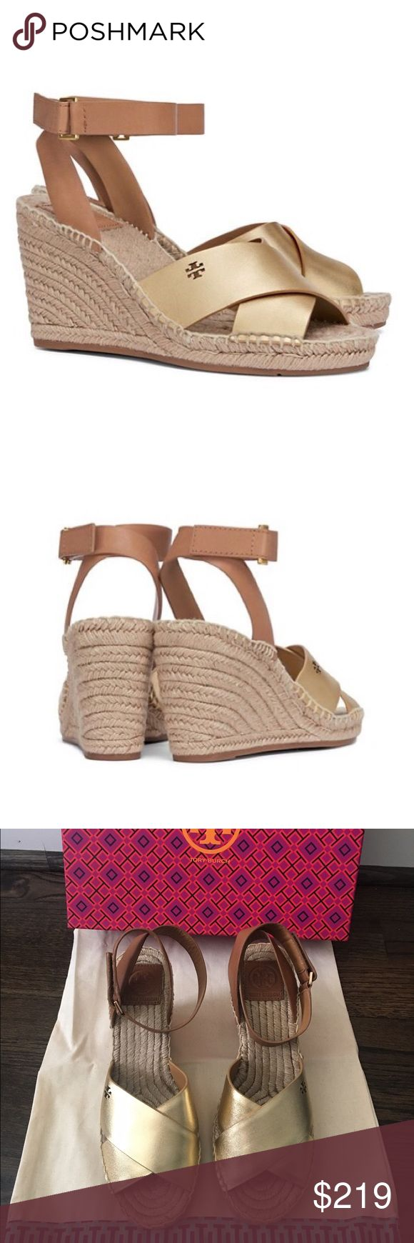 "✨NIB✨ Tory Burch Bima Metallic Espadrille Sandals Brand new in box! Authentic Tory Burch Bima metallic wedge espadrille sandals. Gold leather with cut out double T logo. Adjustable velcro ankle closure. 3.59"" jute wrapped wedge heel. Rubber sole. Size 7.5, true to size. Comes with box and dust bag. ***No Trades*** Tory Burch Shoes Wedges"
