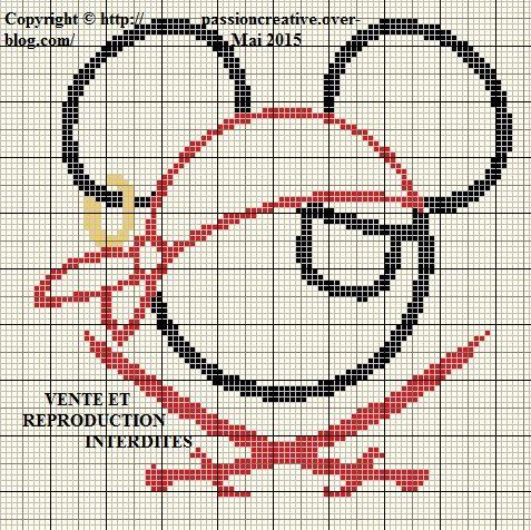 Grille gratuite point de croix : Mickey pirate silhouette - Le blog de Isabelle