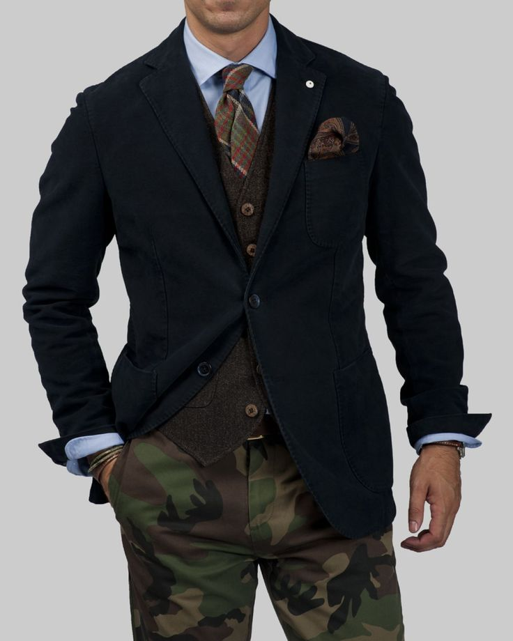 Blazer & tie with Camo pants. If only my wife would let me wear this to church...