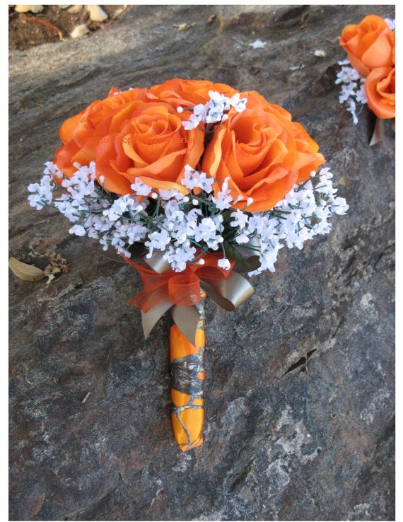 Custom New Artificial True Timber MC2 Blaze Wedding Flowers, Orange Camo Bridal Bouquet