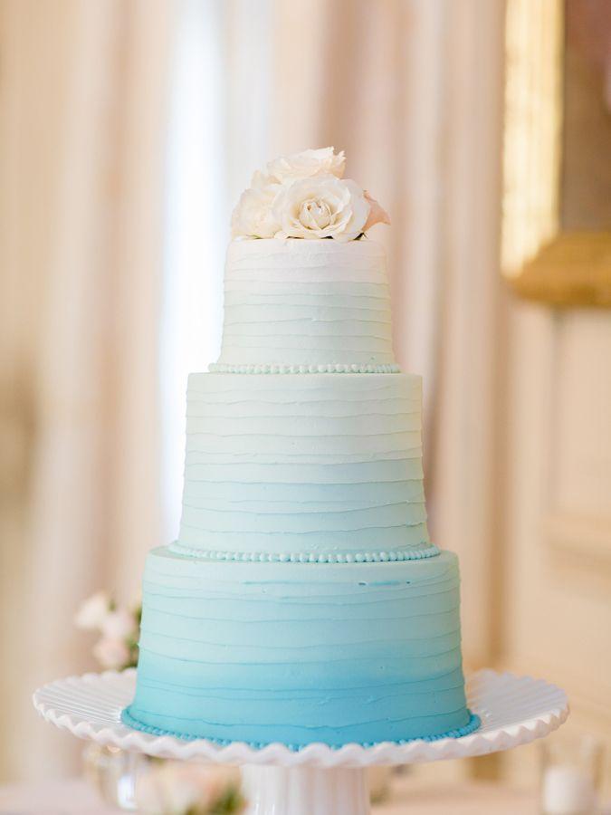 Aqua Wedding Details: Ombre Cake