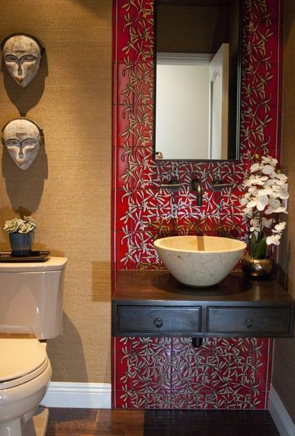 Red asian inspired bathroom accessories