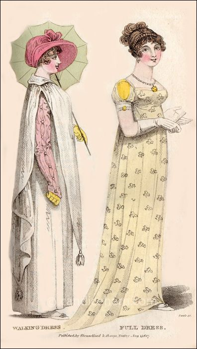 Walking Dress and Full Dress, August 1807 - CandiceHern.com