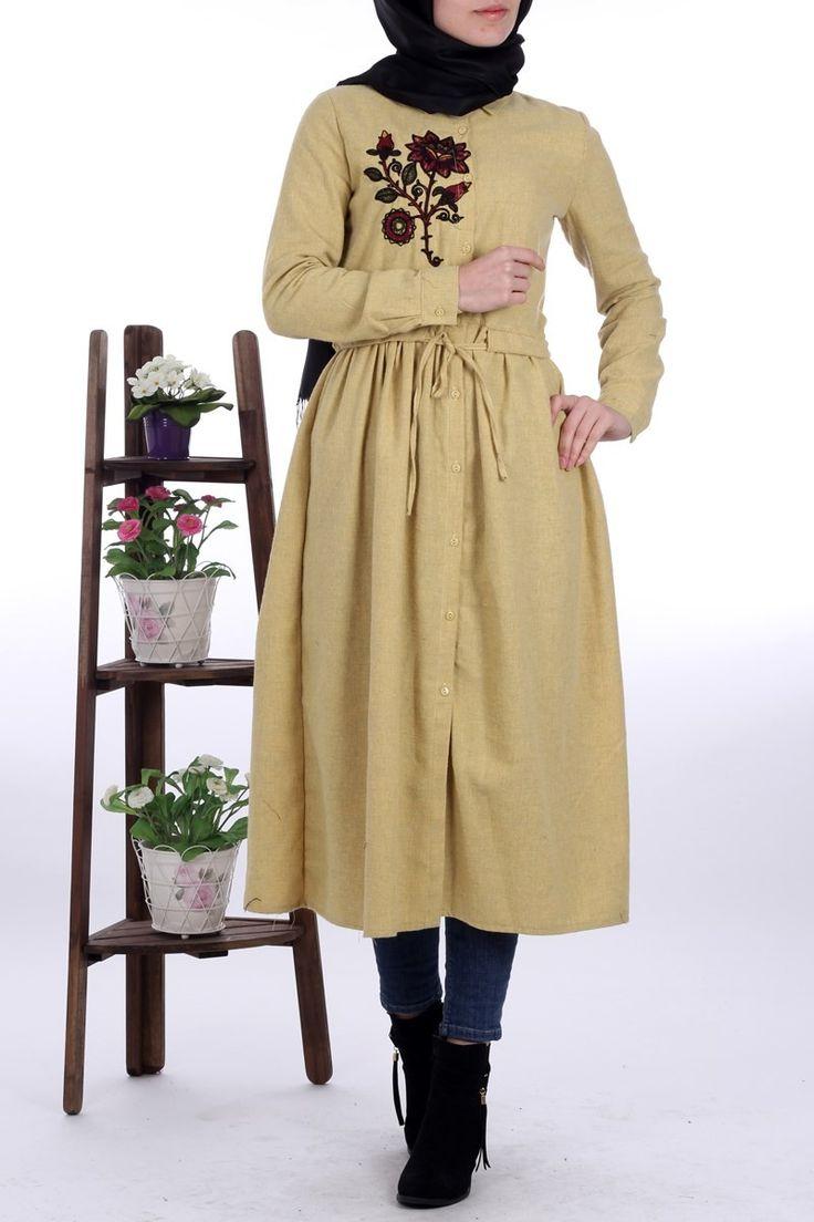 #tesettur Nakışlı Tunik 4096 - Sarı -  - Price: tl129.90. Buy now at http://www.hakanaydogantest.com/gomlek-yaka-nakisli-pamuk-tunik-sari-pink-lady-16969