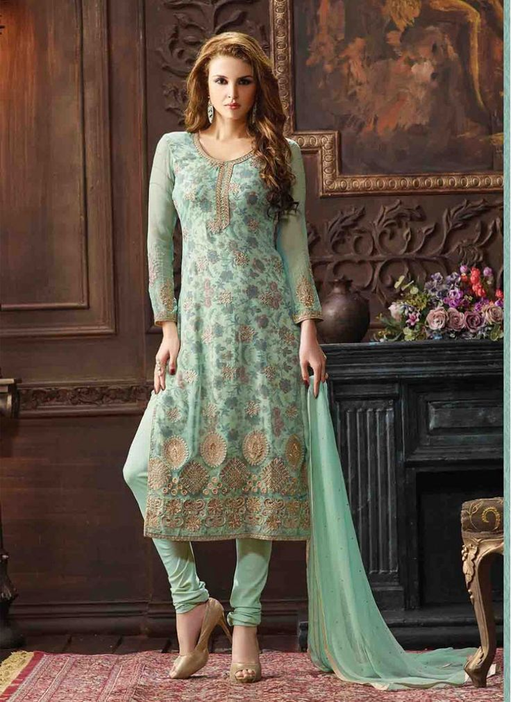 Ceremonial Sea Green Trendy Churidar Salwar Kameez