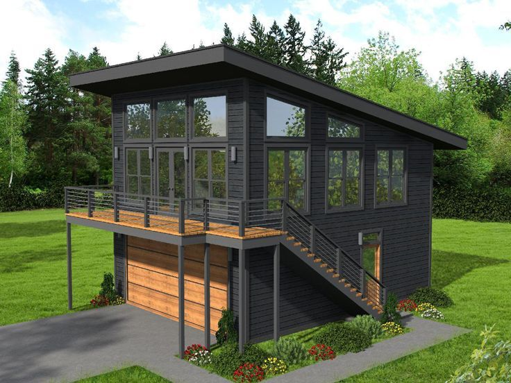 062g 0201 Modern Carriage House Plan With 2 Car Garage Carriage House Plans Modern Style House Plans Mountain House Plans