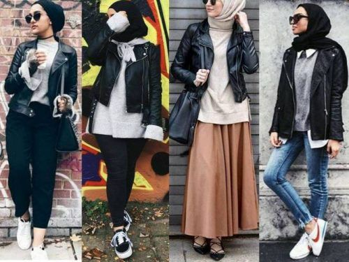 Leather jackets with hijab-Winter Hijab fashion combinations – Just Trendy Girls