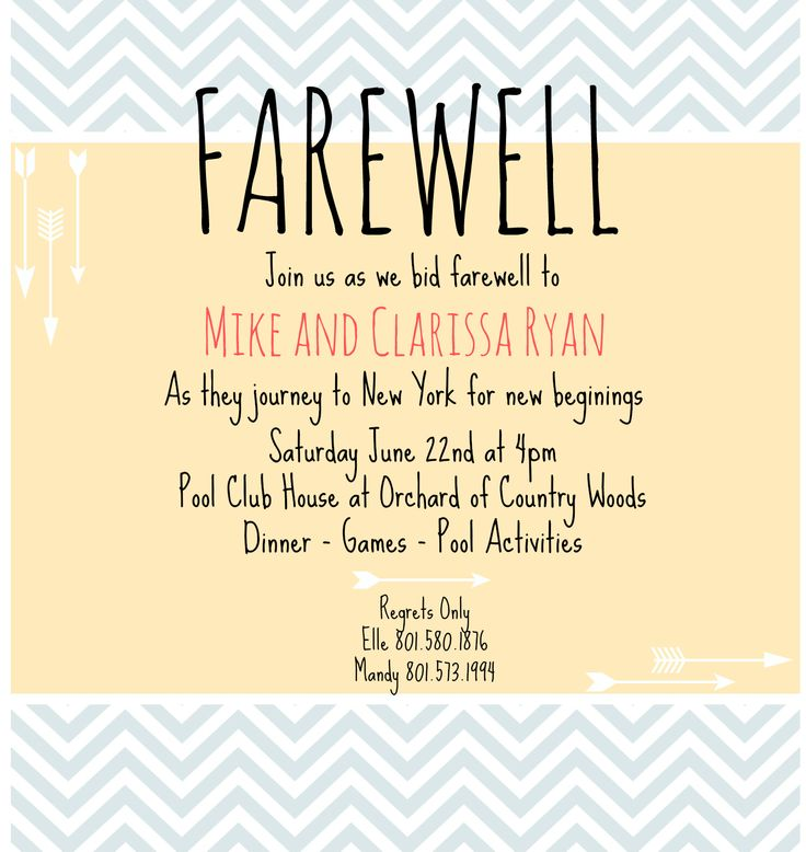 1000 Images About Farewell Invitation On Pinterest