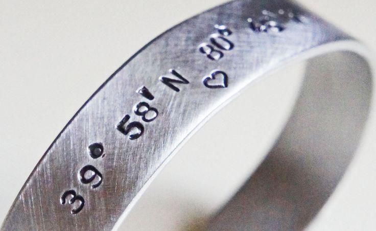 latitude longitude coordinate cuff bracelet custom