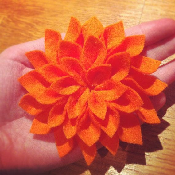 Orange Dazzling Dahlia Brooch by TheGentleFlower on Etsy