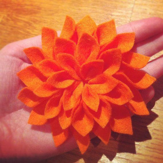 Orange Dazzling Dahlia Brooch by TheGentleFlower on Etsy