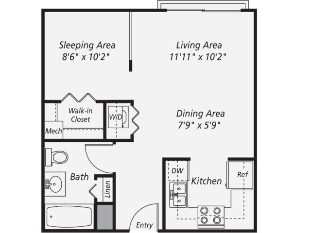 522 Sq Ft Studio Apartment Layout   Iu0027d Flip The Kitchen And Living Area To  Eliminate The Hallway.