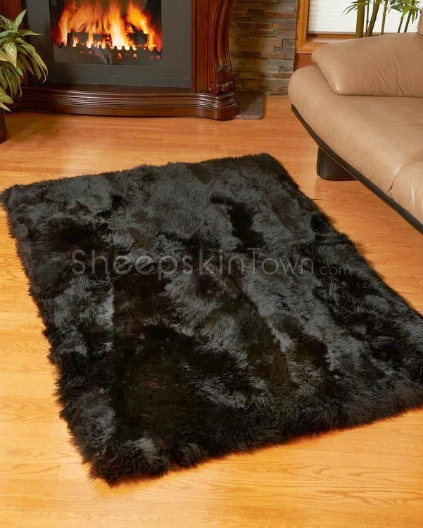 Black Sheepskin Area Rug By Bowron