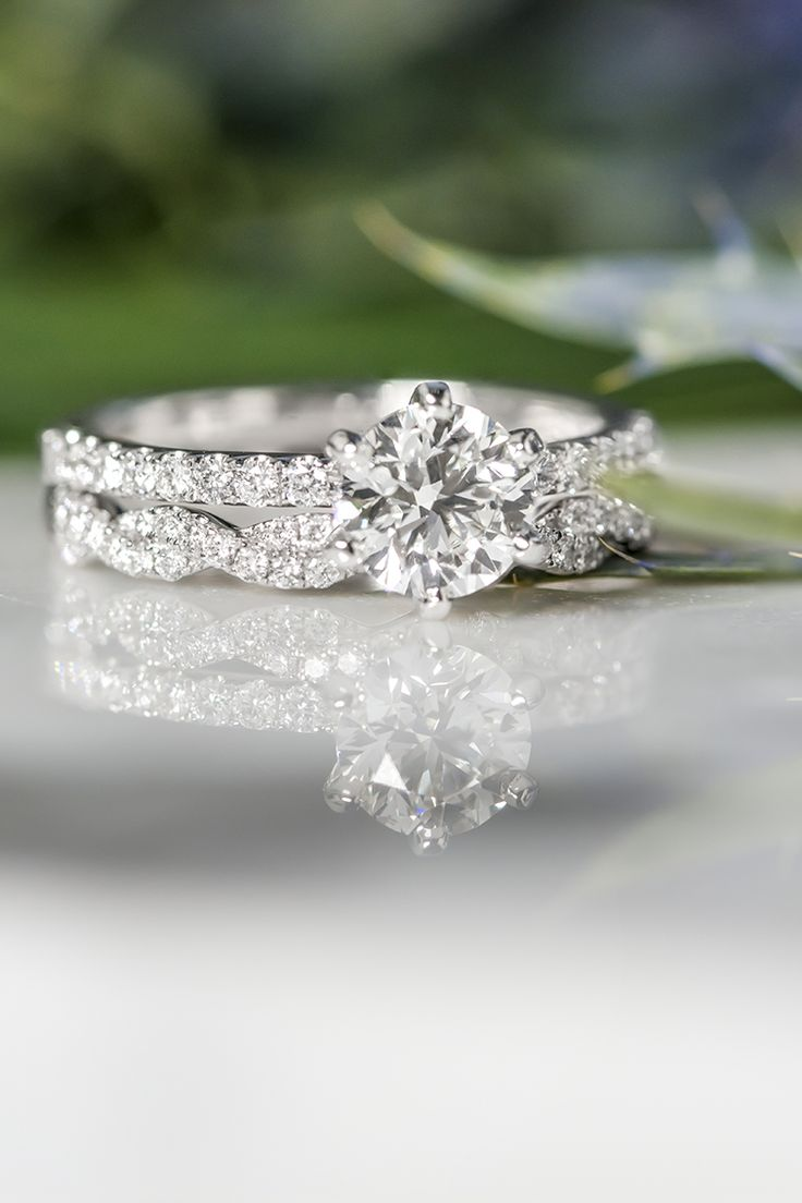 @shanecompany combining Diamond Engagement Ring with Pavé Setting in 14k White Gold with Infinity Twist Pavé-Set Diamond Wedding Band!